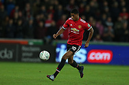 Marcus Rashford of Manchester United in action. EFL Carabao Cup 4th round match, Swansea city v Manchester Utd at the Liberty Stadium in Swansea, South Wales on Tuesday 24th October 2017.<br /> pic by  Andrew Orchard, Andrew Orchard sports photography.