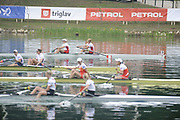 Bled, SLOVENIA,   Women's Pair final, top, CAN W2-. Gold medalist, Bow Krista GULOIEN and Ashley BRZOZOWICZ, CHN W2-, Bow LI, Meng and LI, Tong, USA1 W2- FRANCIA, Zsuzsanna and CAFARO, Erin approach the finishing line at the 1st FISA World Cup. Rowing Course. Lake Bled.  Sunday  30/05/2010  [Mandatory Credit Peter Spurrier/ Intersport Images]
