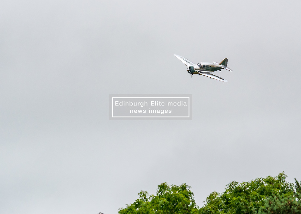 Pictured: Scotland's National Airshow, East Fortune, East Lothian, Scotland, United Kingdom, 27 July 2019 . A packed programme of aircraft old and new planned to take to the skies for the aerial display was marred by poor weather at airfields around the country which meant that many of the promised flights were unable to perform. A Spartan Executive plane.<br /> Sally Anderson | EdinburghElitemedia.co.uk