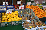 Fruit and vegetable market stall, Felixstowe, Suffolk, England
