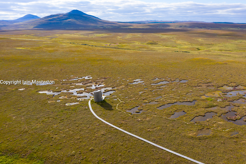 Aerial view  of visitor viewing tower on landscape of the Flow Country at RSPB Forsinard Flows Nature Reserve in Sutherland, Scotland, UK