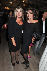 Left to right, EVE POLLARD and JOAN COLLINS at a party to celebrate the publication of her  autobiography - The World According to Joan, held at the British Film Institute, South Bank, London SE1 on 8th September 2011.
