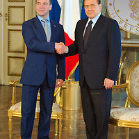 MILAN, ITALY - JULY 23: Italian Prime Minister Silvio Berlusconi and Russian Pesident Dimitry Medvedev ahead of the press conference at Palazzo della Provincia on July 23, 2010 in Milan, Italy. Italian Prime Minister Berlusconi and Russian Prime Minister Medvedev will discuss issues related to Russia's relations with NATO and the EU, energy security, and the development of bilateral trade and economic relations. .***Agreed Fee's Apply To All Image Use***.Marco Secchi /Xianpix. tel +44 (0) 207 1939846. e-mail ms@msecchi.com .<br />  www.marcosecchi.com