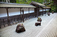 """Banryutei Stone Garden - Kongobuji is the head temple of the Shingon sect of Buddhism, at Koyasan.  Its name means """"Temple of the Diamond Mountain"""" and is a UNESCO World Heritage Site. The temple's modern Banryutei rock garden is Japan's largest Zen Garden with 140 granite stones arranged to suggest dragons emerging from clouds to protect the temple."""
