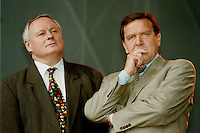07.10.1995, Germany/Berlin:<br /> Oskar Lafontaine, SPD, Ministerpräsident Saarland und Gerhard Schröder, SPD, Ministerpräsident Niedersachsen, Kundgebung auf dem Alexanderplatz zum 50. Jahrestag der Wiedergründung der SPD<br /> IMAGE: 19951007-02/01-21<br />  <br />  <br />  <br /> KEYWORDS: Schroeder