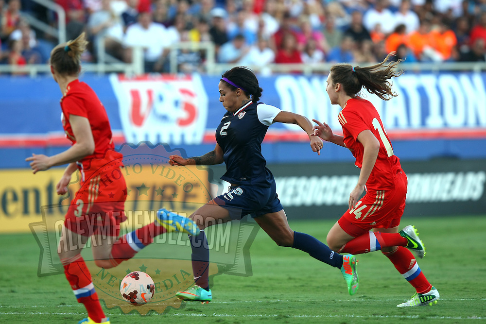 U.S. forward Sydney Leroux (2) is seen during an international friendly soccer match between the United States Women's National soccer team and the Russia National soccer team at FAU Stadium on Saturday, February 8, in Boca Raton, Florida. (AP Photo/Alex Menendez)