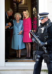 ©  London News Pictures. 13/10/2012. London, UK. Former British Prime Minister Margaret Thatcher dressed in blue as she leaves her home in London on her 87th birthday with her son Mark Thatcher and his wife Sarah on October 13, 2012. Photo credit : Ben Cawthra/LNP Baroness Thatcher has died this morning follow a stroke, her spokesman Lord Bell says
