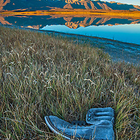 Mount Morrison and Laurel Mountain of the Eastern Sierra Nevada crest reflect in Big Alkali Lake in Long Valley near Mammoth Lakes, California. A frosted, abandoned boot likes in the foreground salt grass.