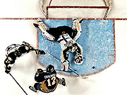 Colorado Eagles goalie Marco Emond makes a save against the Laredo Bucks Friday during Game 1 of the President's Cup Finals at the Budweiser Events Center in Loveland. The Eagles won 5-2.