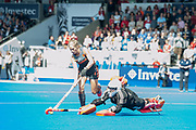 England's Maddie Hinch saves from Kitty Van Male of the The Netherlands. England v The Netherlands, Lee Valley Hockey and Tennis Centre, London, England on 11 June 2017. Photo: Simon Parker