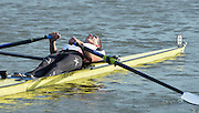 Reading. United Kingdom.  GBR LM1X, Will FLETCHER, lays back after the A final. 2014 Senior GB Rowing Trails, Redgrave and Pinsent Rowing Lake. Caversham.<br /> <br /> 18:09:56  Saturday  19/04/2014 <br /> <br />  [Mandatory Credit: Peter Spurrier/Intersport<br /> Images]