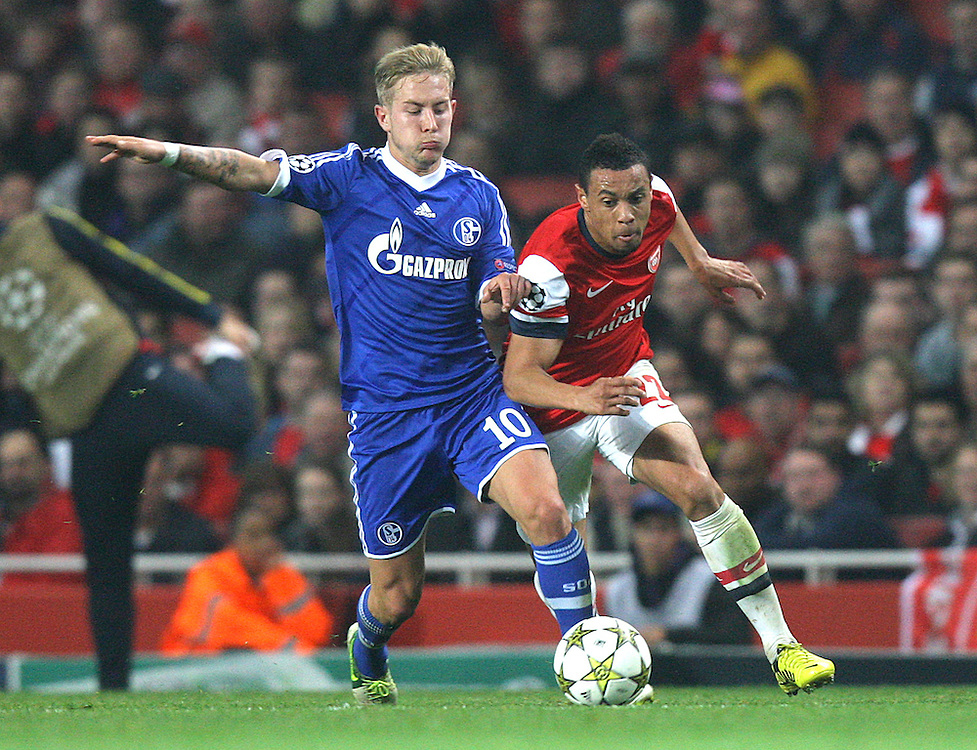 Schalke's Lewis Holtby battles with Arsenal's Francis Coquelin ..Football - UEFA Champions League Group B - Arsenal v Schalke - Wednesday 24th October 2012 - Emirates Stadium - London..