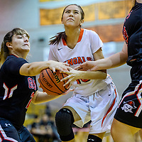 Gallup Bengal Cearra Wilson (10) is fouled by the Grants Pirates as she drives to the hoop Friday at Gallup High School.