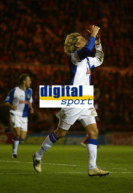 Photo: Andrew Unwin.<br /> Middlesbrough v Blackburn Rovers. Carling Cup. 21/12/2005.<br /> Blackburn's Robbie Savage (R) cannot believe it when his goal is disallowed.