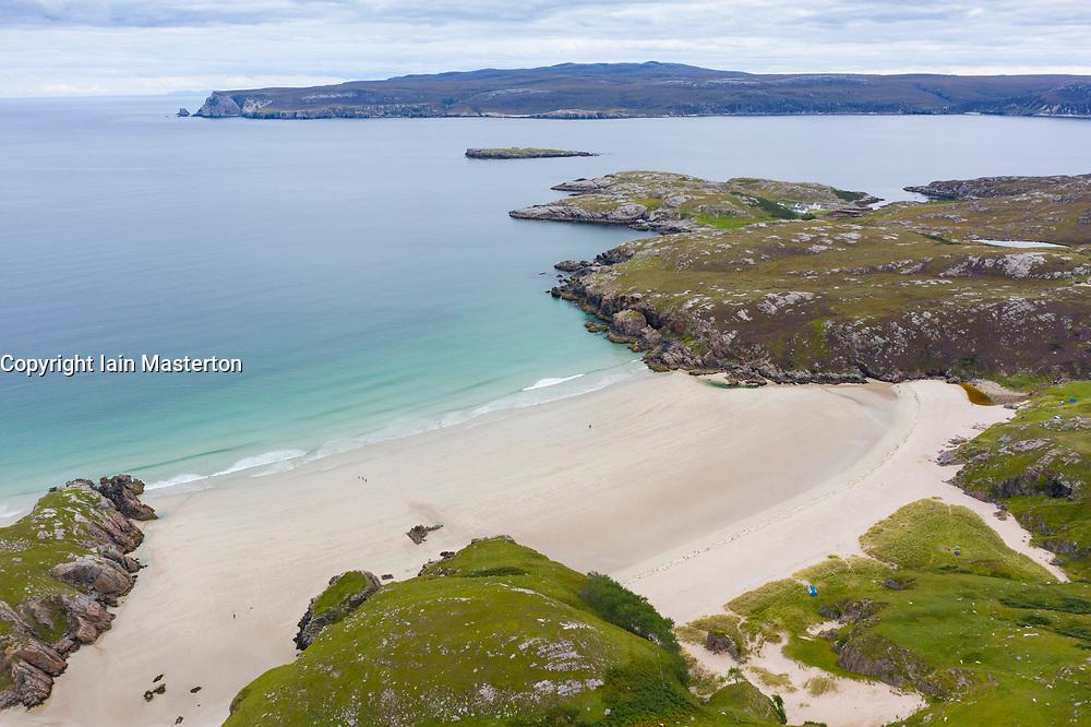 Aerial view of Ceannabeinne Beach near Durness on north coast of Sutherland, Highland Region , Scotland, Uk