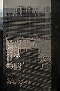 New York  The MIMA tower ,reflection on a mirror tower at sunset in Hell s Kitchen times square skyline midtown