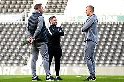 Bristol City Head Coach Lee Johnson talks to Dan Bentley of Bristol City and Rene Gilmartin of Bristol City - Mandatory by-line: Robbie Stephenson/JMP - 20/08/2019 - FOOTBALL - Pride Park Stadium - Derby, England - Derby County v Bristol City - Sky Bet Championship