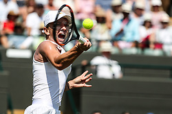 LONDON, July 7, 2018  Simona Halep of Romania hits a return during the women's singles third round match against Hsieh Su-Wei of Chinese Taipei at the Wimbledon Championships 2018 in London, Britain, July 7, 2018. Hsieh Su-Wei won 2-1. (Credit Image: © Shi Tang/Xinhua via ZUMA Wire)