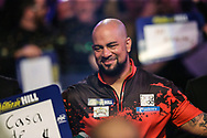 Devon Peterson during the walk-on during the World Darts Championships 2018 at Alexandra Palace, London, United Kingdom on 27 December 2018.