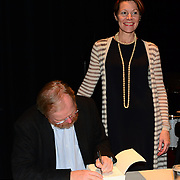 Author BIll Bryson during backstagebook signing after speaking at a Writers on a New England Stage show at The Music Hall in Portsmouth, NH