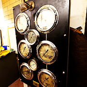 Old steam heating displays in the sub-basement of the historic Power and Light Building in downtown Kansas City, MO as the structure undergoes renovation by NorthPoint Development for residential conversion.