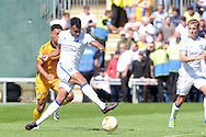 Mansfield's Matt Green (c) thinks he scores his second goal only to be denied by the linesman's flag. Skybet EFL league two match, Newport county v Mansfield Town at Rodney Parade in Newport, South Wales on Saturday 6th August 2016.<br /> pic by Carl Robertson, Andrew Orchard sports photography.