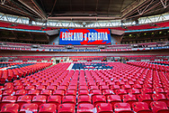England v Croatia signage and seats with England flags for all supporters inside the stadium ahead of the UEFA Nations League match between England and Croatia at Wembley Stadium, London, England on 18 November 2018.