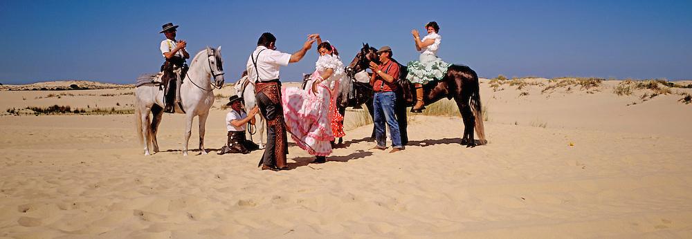 SPAIN, ANDALUSIA, FESTIVALS El Rocio; pilgrimage, flamenco, La Donana