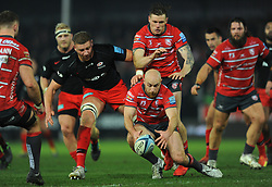 Willi Heinz of Gloucester Rugby grabs the ball- Mandatory by-line: Nizaam Jones/JMP - 22/02/2019 - RUGBY - Kingsholm - Gloucester, England- Gloucester Rugby v Saracens - Gallagher Premiership Rugby