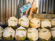 12 MARCH 2014 - BANGKOK, THAILAND:    Selling coconut water in Bangkok.   PHOTO BY JACK KURTZ