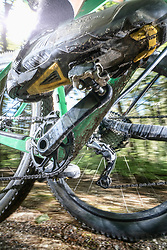 Low section of mountain biker speeding on forest track, Bavaria, Germany