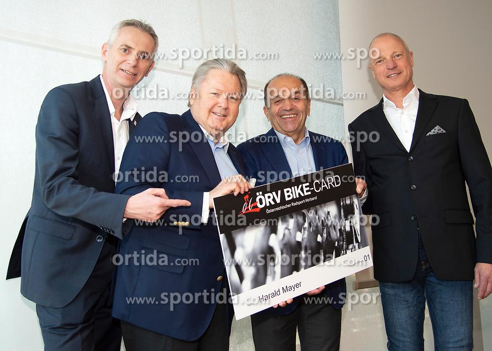 22.03.2019, Leonding, AUT, Generalversammlung, Österreich, Österreichicher Radsportverband im Bild v.l. Jürgen Brettschneider (ÖRV Vizepräsident), Dir. Harald Mayer, (ÖRV Präsident), Paul Resch, (ÖRV Vizepräsident), Gerald Pototschnig (ÖRV Vizepräsident) // during the general assembly of Austrian cycling federation at Leonding, Austria on 2019/03/23. EXPA Pictures © 2019, PhotoCredit: EXPA/ Reinhard Eisenbauer
