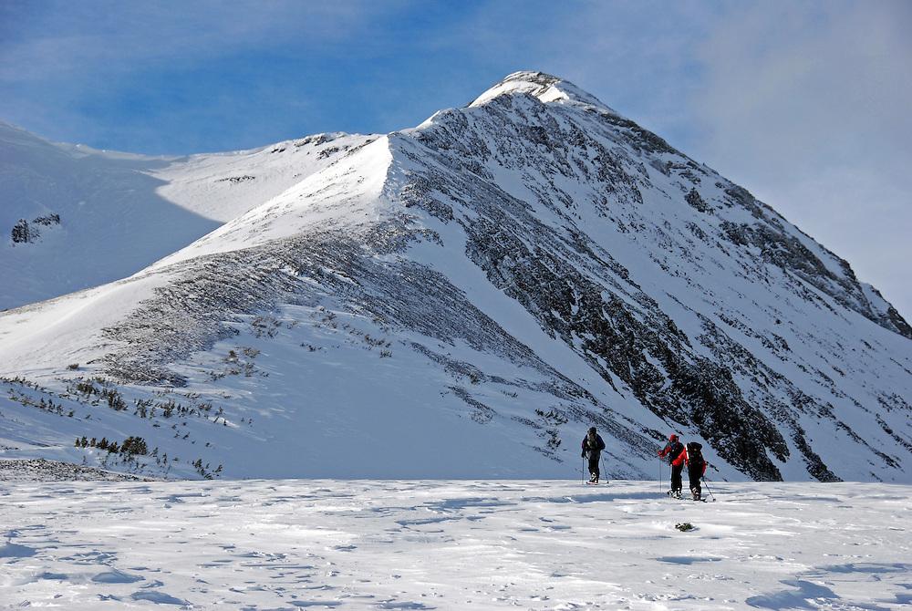 Backcountry skiers, Tenderfoot Pass, Wallowa Mountains, Oregon.