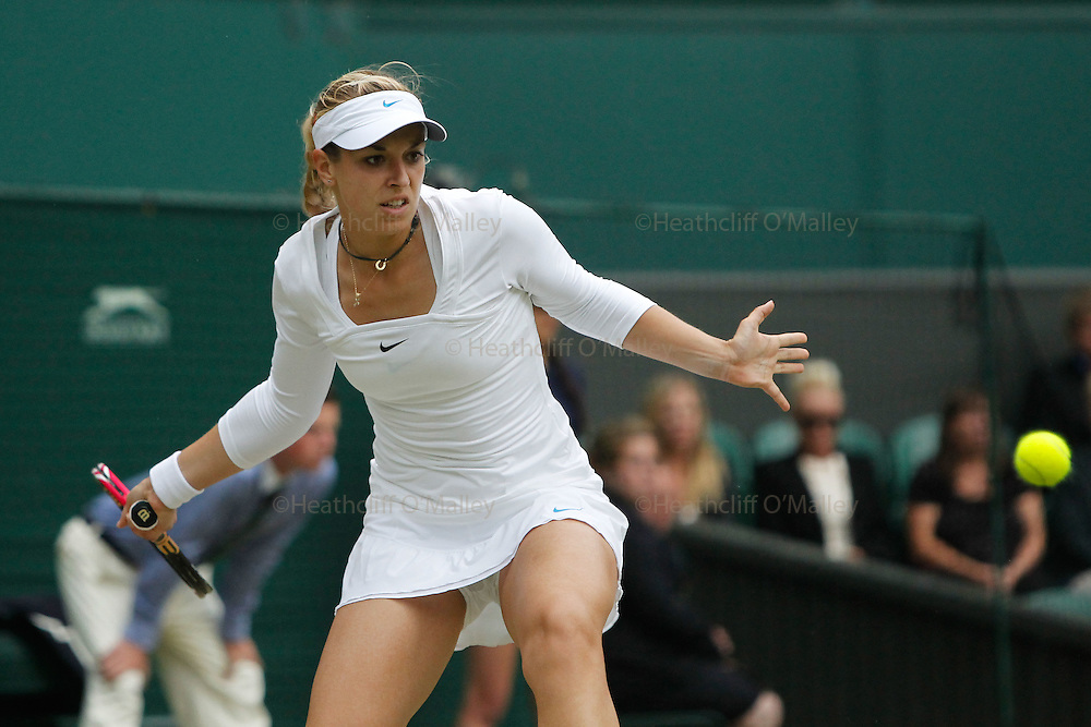 Mcc0032212 . Daily Telegraph..Sabine Lisicki who lost in two straight sets to Maria Sharapova on Centre Court in the Ladies Singles semi-finals...Maria Sharapova vs Sabine Lisicki..The Tenth day of The Lawn Tennis Championships at Wimbledon..London 30 June 2011