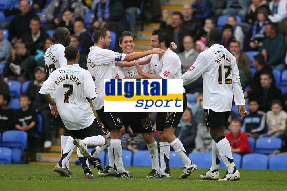 Photo: Pete Lorence.<br />Peterborough United v Hereford United. Coca Cola League 2. 27/10/2007.<br />Clint Easton and team celebrate a late equaliser.