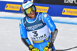 15.02.2021, Cortina, ITA, FIS Weltmeisterschaften Ski Alpin, Alpine Kombination, Herren, Super G, im Bild Riccardo Tonetti (ITA) // Riccardo Tonetti of Italy reacts after the Super G competition for the men's alpine combined of FIS Alpine Ski World Championships 2021 in Cortina, Italy on 2021/02/15. EXPA Pictures © 2021, PhotoCredit: EXPA/ Erich Spiess
