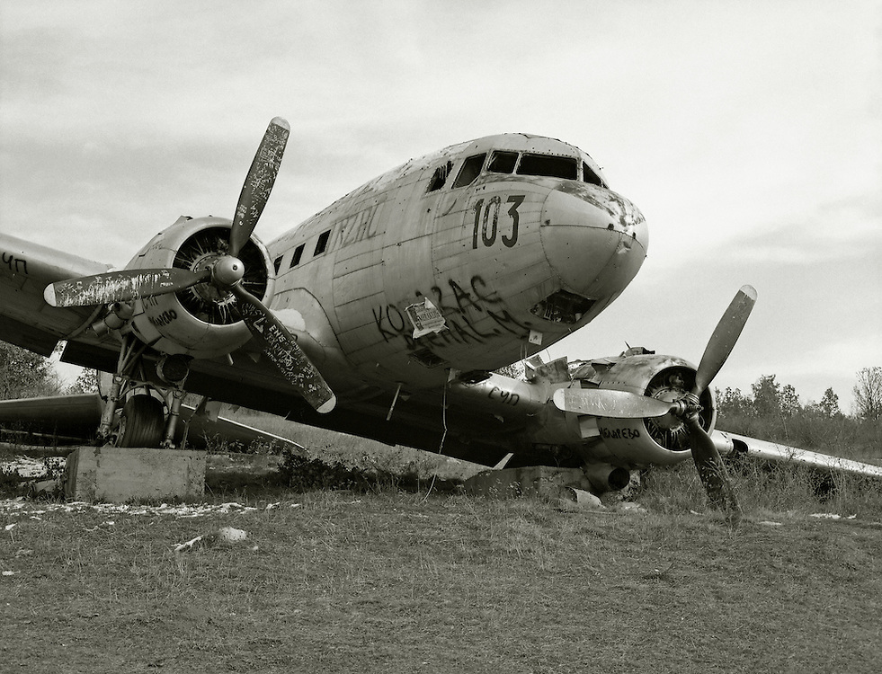 A crashed plane, dating from the Second World War, in a field in North West Bosnia.