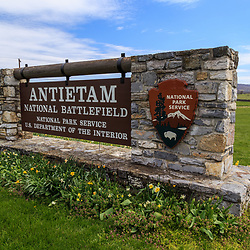 The National Park Service Antietam National Battlefield Welcome Center Sign near Sharpsburg, MD.