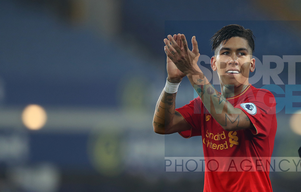 Roberto Firmino of Liverpool after the English Premier League match at Goodison Park, Liverpool. Picture date: December 19th, 2016. Photo credit should read: Lynne Cameron/Sportimage