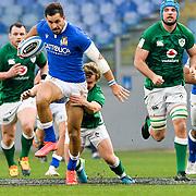 Roma 27/02/2021, Stadio Olimpico<br /> Guinness Six Nations 2021<br /> Italia vs Irlanda <br /> <br /> Mattia Bellini placcato da Billy Burns