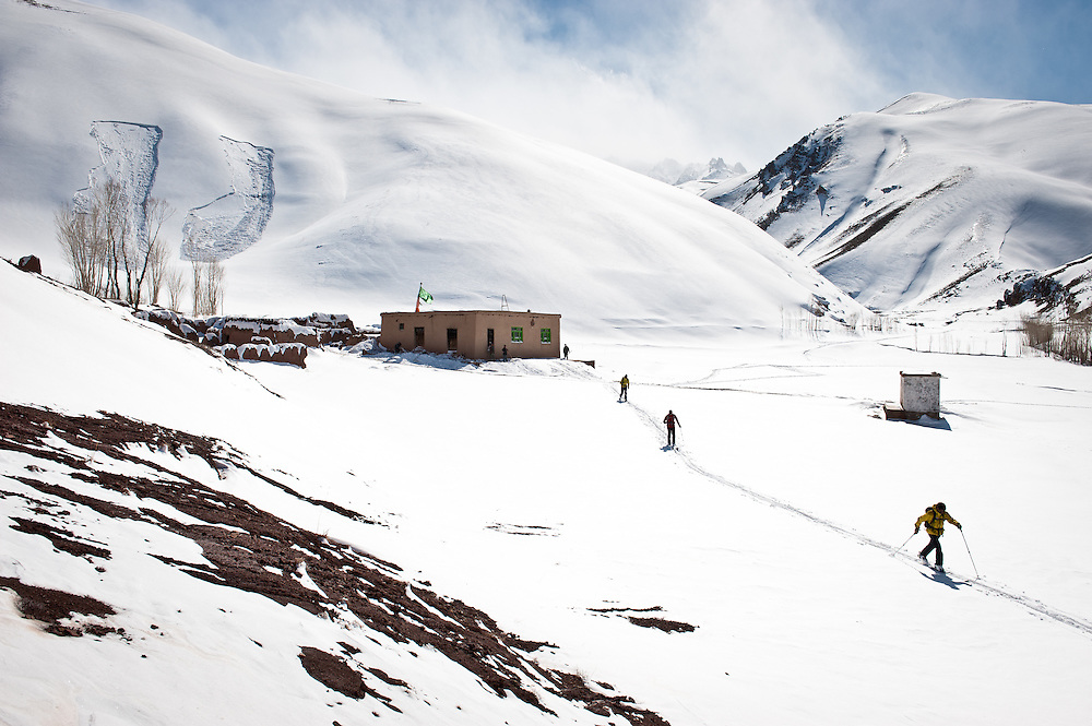 Foreign tourists led by Ali Shah Farhang, 20, abandon plans for backcountry skiing after setting off two avalanches in the Dukani Valley.