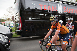 Nikki Brammeier (GBR) of Boels-Dolmans Cycling Team finishes the Tour de Yorkshire - a 122.5 km road race, between Tadcaster and Harrogate on April 29, 2017, in Yorkshire, United Kingdom.