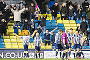 Millwall forward Lee Gregory (9) celebrate goal  during the EFL Sky Bet League 1 match between Millwall and Peterborough United at The Den, London, England on 28 February 2017. Photo by Sebastian Frej.