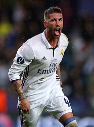 Real Madrid's Sergio Ramos celebrates scoring his side's second goal of the game
