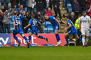 Gillingham FC midfielder Mark Byrne (33) scores a goal (2-1) and celebrates with team mates during the EFL Sky Bet League 1 match between Gillingham and Peterborough United at the MEMS Priestfield Stadium, Gillingham, England on 22 September 2018. Picture by Martin Cole