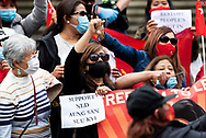 The Burmese community stage a protest rally in front of The Parliament of Victoria in Melbourne, Australia on February 2, 2021, after Myanmar's military seized power in a coup and declared a state of emergency. (Photo by Mikko Robles/Speed Media)