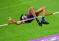 London, August 10 2017 . Vashti Cunningham, USA, in the Women's high jump qualifying on day seven of the IAAF London 2017 world Championships at the London Stadium. © Paul Davey.
