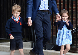 File photo dated 23/04/18 of the Duke of Cambridge with Prince George and Princess Charlotte arriving at the Lindo Wing at St Mary's Hospital in Paddington, London where the Duke's third child was born. Princess Charlotte celebrates her fifth birthday today.