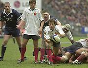 Saint-Denis, Paris, France, 23rd February 2003,  Six Nations Rugby International, France vs Scotland, Stade de France,<br /> [Mandatory Credit: Peter Spurrier/Intersport Images],<br /> Photo Peter Spurrier<br /> 23/02/2003<br /> Sport -SIX NATIONS RUGBY - France v Scotland<br /> French Capt. Fabien Galthie.