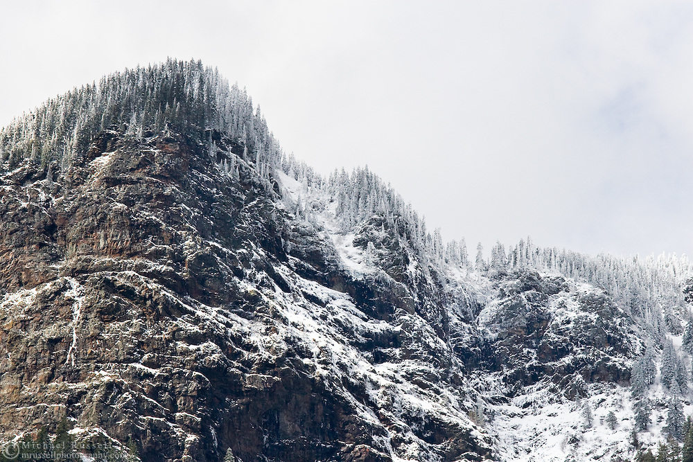 Fresh Snow on Ogilvie Peak.  Photographed from Coquihalla Canyon in Hope, British Columbia, Canada